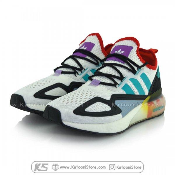 کفش اسپرت و کتونی آدیداس زد ایکس ( سفید فیروزه ای ) - Adidas ZX 2K Boost ( White Teal Red )