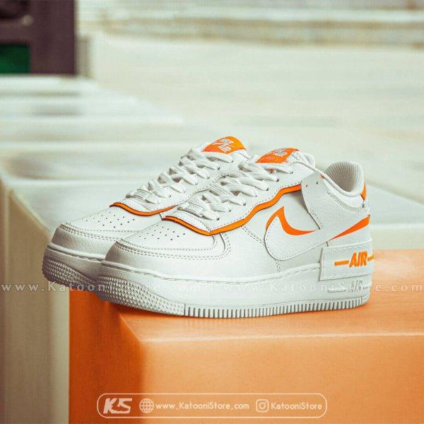 کفش اسپرت و کتونی نایک ایر فورس ۱ ( سفید نارنجی ) - Nike Air Force 1 Shadow ( White Orange)