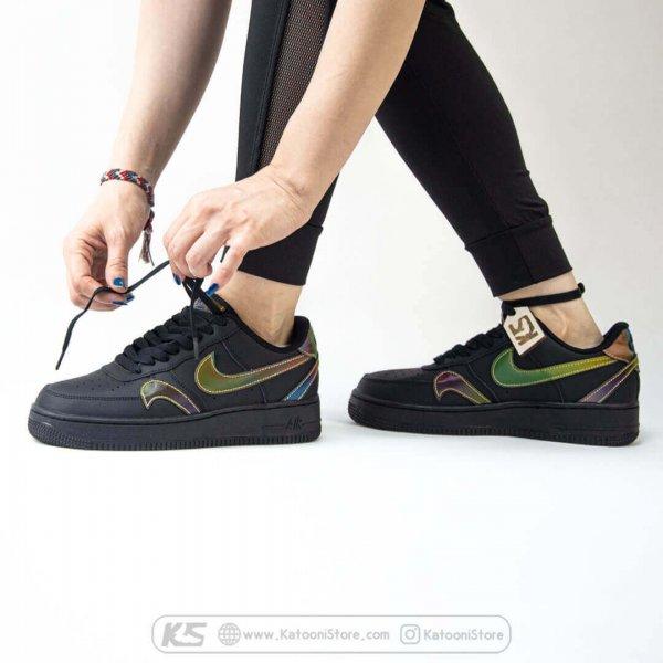 کفش اسپرت و کتونی نایک ایر فورس ۱ ( مشکی شبرنگ ) - Nike Air Force 1 '07 LV08 (Black Rainbow)